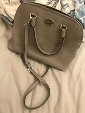 Pearl Grey 100% Michael Kors Cindy Leather Medium Size Shoulder Strap Hand Bag