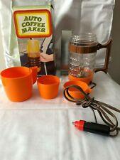 Vintage 60-70's Auto Coffee Maker Orange 12V Lighter Plug Cars Boats Travel RVs
