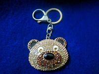 gold tone  Metal Teddy Bear Face Key Ring Chain Handbag Wallet Charm