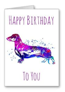 Sausage Dog Dachshund Happy Birthday Card Watercolour Effect