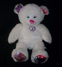 "16"" BABW BUILD A BEAR WHITE TWINKLE TOES TEDDY BEAR STUFFED ANIMAL PLUSH TOY"