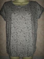 NEXT PETITES GREY FLORAL COTTON STRETCHY TOP WITH ELASTICATED WAIST SIZE 12
