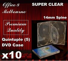10 X Premium Quality Quintuple 5 DVD Case Cover 14mm - Holds 5 Cd/dvd