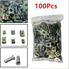 100Pcs Car Body Door Fender Trim Panel Fasteners Fixed Screws U Type Clips Set
