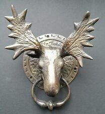 "Moose Head Rustic Door Knocker Large Solid Brass, Ornate Detail 8-1/2""  #D5"