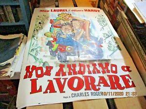 NON ANDIAMO A LAVORARE manifesto 2F originale 1964 STAN LAUREL OLIVER HARDY