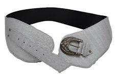 Celebrity Women Western Fashion Wide Metallic Silver Corset Belt Waist Hip S M