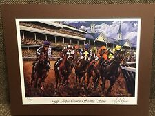 Seattle Slew Triple Crown Lithograph by Angelo Marino 1977 Horse Racing
