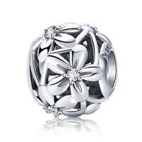 Blossom Flowers S925 Silver European Hollow Charm Bead Fits Bracelet Chain DIY