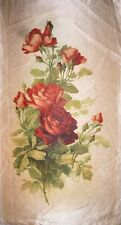 "Huge Tobacco Silk Red Roses Cascading Down White Satin 15.5"" x 8.5"" Premium"