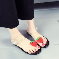 Women Fruit Flip flops Sandals Shoes Beach Plate Strawberry Low Heeled Shoes New