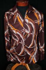 Camicie casual e maglie vintage da uomo marrone in poliestere
