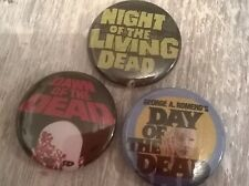 Dawn of the Dead set of 3 25MM pin badge Day Night Romero button cult zombie dvd
