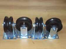 "4"" X1-1/ 2 "" V-GROOVED STEEL WHEEL CASTER/ SET OF 4  (450 LBS CAPACITY/EA)"