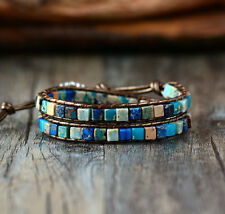 Crystal Bead Friendship Bracelet Wrap Surfer Beach Blue Chakra Leather Agate