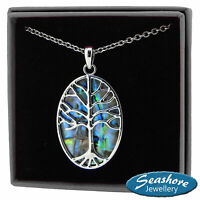 Tree of Life Necklace Paua Abalone Shell Pendant Silver Fashion Jewellery 18""