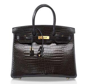 Hermes Birkin 35 Black Porosus Exotic Gold Hardware Bag