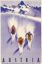 A3 SIZE - Vintage AUSTRIA Skiing Travel Retro Poster Print Art