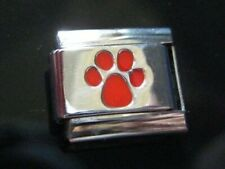 Dog Paw Italian Charm Red fits Classic 9mm bracelet Stainless Steel