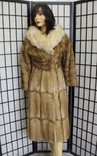 Mint Natural Muskrat & Fox Fur Coat Jacket Women Woman Size 2-4 Petite