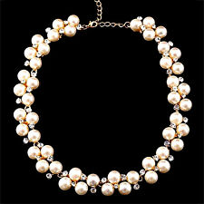 Fashion Jewelry Women Crystal Bib Pearl Statement Chunky Choker Pendant Necklace
