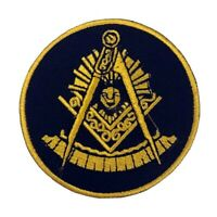 """Masonic Past Master Embroidered Patch - Black with Square (3"""") - PM3-BLK"""