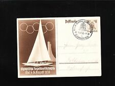 Germany 1936 Olympics Swimming Stadium Cancel Sailing Postal Card. 3p