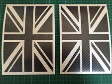 2x Union Jack Carbon Fibre Stickers Car Window Bumper Vinyl Stickers Decals 17