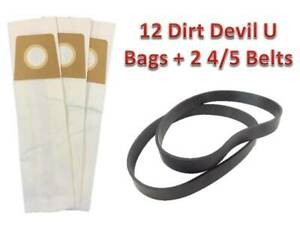 12 Bags For Dirt Devil Type U Vacuum Cleaner Bag Ultra Magnum MVP + 2 4/5 Belts
