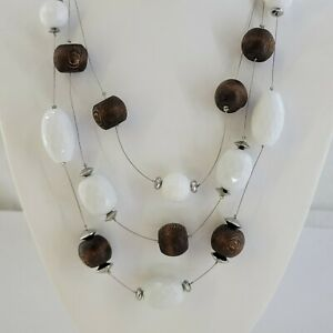 Chicos Glass Bead Station Necklace Boho Statement Silver Tone Wire Brown White
