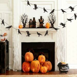 Black Realistic Crow Raven Pattern Banner Halloween Hanging Bunting Flags