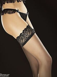 Ravenis stay up stockings Fiore 20 den classic sheer lace hold ups BLACK / WHITE