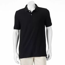 CROFT & BARROW BLACK POLO PIQUE SHIRTS SIZE XL GOLF TENNIS ANYTIME NEW WITH TAGS
