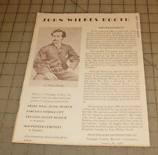 Vintage JOHN WILKES BOOTH Venango County (PA) Museum - Franklin, 1 Page Brochure