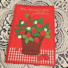 Vintage Greeting Card Valentine Aunt Strawberry Bush Lady Bug Ladybug