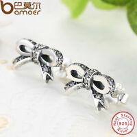 BAMOER S925 Sterling Silver Bow Stud Earrings With Clear AAA CZ Women Jewelry
