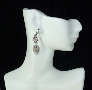 SWAROVSKI SWAN PIERCED EARRINGS  Silver Tone Plated Drop Dangling