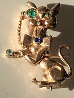 VINTAGE 1960S UNUSUAL MADE CAT BROOCH COPPER GLASS STONES MONICLE CANE BOW TIE