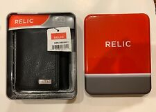 RELIC MENS TRIFOLD GENUINE LEATHER WALLET RML5803001 NEW AUTHENTIC BLACK