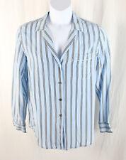 Equipment Femme Women's Blue Navy White Striped Button Down Silk Shirt Top L