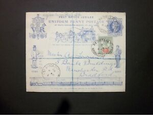Stationery Registered QV Penny Postage Jubilee Envelope + 2d BRADFORD YORKS oval