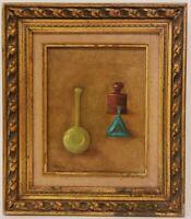 "Vintage Oil Painting on Canvas Still Life Signed Framed Art (15.5"" x 13.5"")"