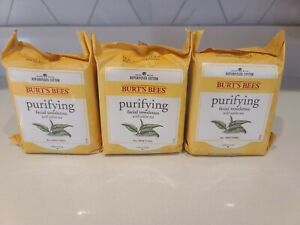 New Burt's Bees Purifying Facial Towelettes White Tea 3 Packs x 30 Wipes
