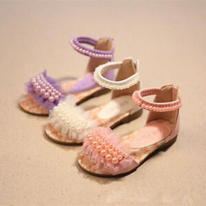 Kid Baby Princess Sandals Pearl Flat Lace Girls Toddler Party Dress Casual Shoes