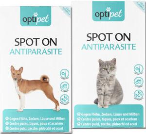 Je 6x Pipetten Spot On für Katzen und Hunde Schutz gegen Flöhe Milben Zecken