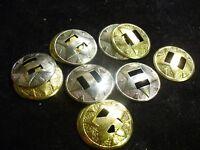 "Vintage western native American conchos silver 15 pieces 1 3/8"" ROUND BELT READY"