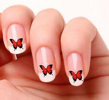 20 Nail Art calcomanías transferencias pegatinas # 38-Rojo Mariposa