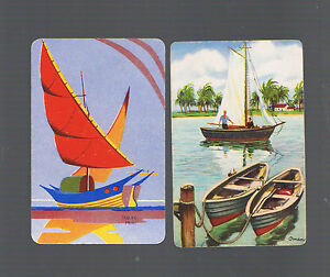 Playing Swap Cards   2   VINT   SAILING  BOATS / SHIPS 1X NMD MALAY PRAU W102