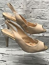 Ladies Oasis Sling Back Shoes Size 7 Nude Open Toe Heeled