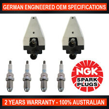 4x Genuine NGK Spark Plugs & 2x Ignition Coils for Mercedes Benz C180 W202